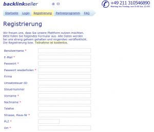 Registrierung bei backlinkseller