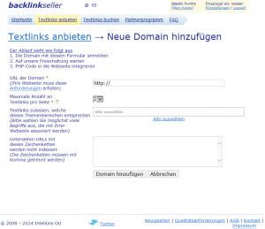 Textlinks anbieten- Neue Domain hinzufuegen